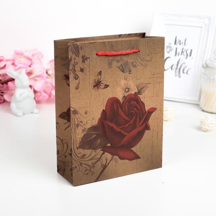 "Пакет крафт ""Королева цветов"", 15 х 6 х 20 см"