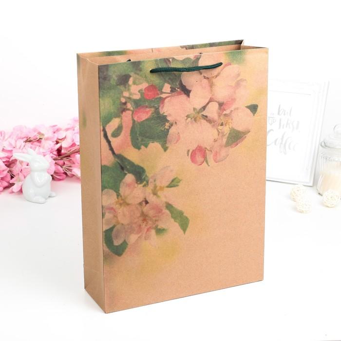 """Пакет крафт """"Весенний цветок"""", 24 х 8 х 33 см"""