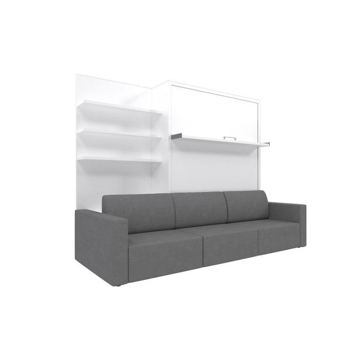 Комплект-трансформер с полкой  Ника Кровать 1600х2000 + диван серый/белый - фото 7672686