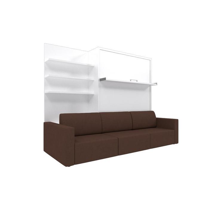 Комплект-трансформер с полкой  Ника Кровать 1400х2000 + диван коричневый/белый - фото 7672694