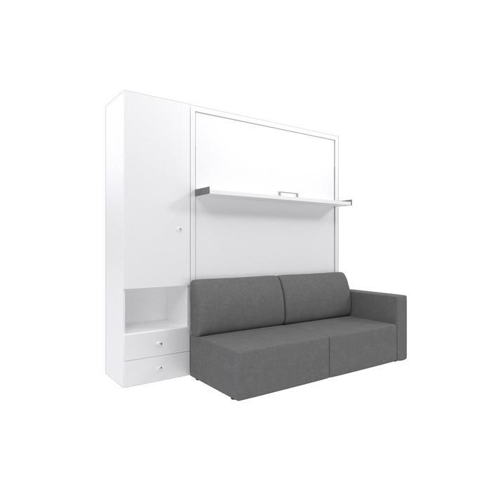 Комплект-трансформер со шкафом  Ника Кровать 1400х2000 + диван серый/белый - фото 7672710