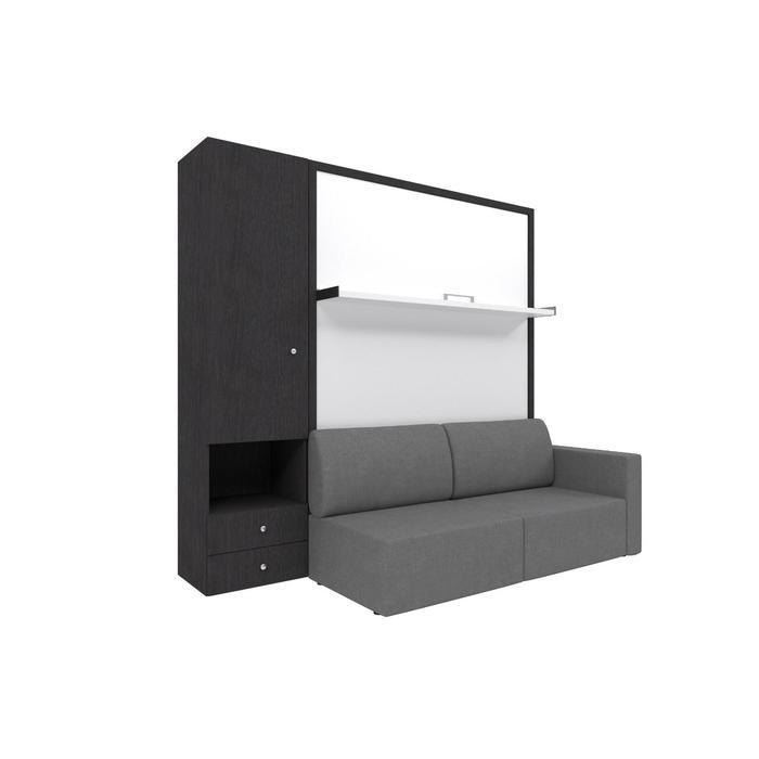 Комплект-трансформер со шкафом  Ника Кровать 1400х2000 + диван серый/венге - фото 7672712