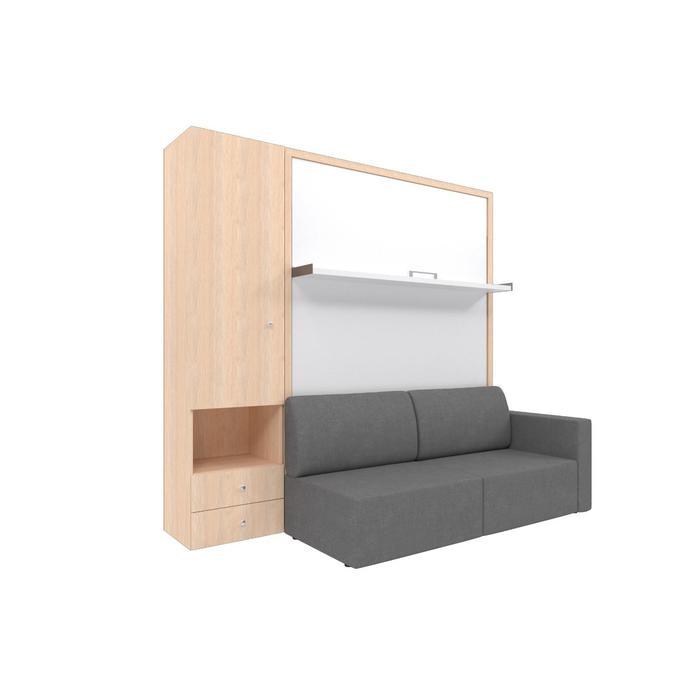 Комплект-трансформер со шкафом  Ника Кровать 1400х2000 + диван серый/дуб - фото 7672714
