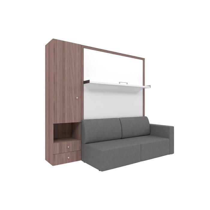 Комплект-трансформер со шкафом  Ника Кровать 1400х2000 + диван серый/ясень - фото 7672716