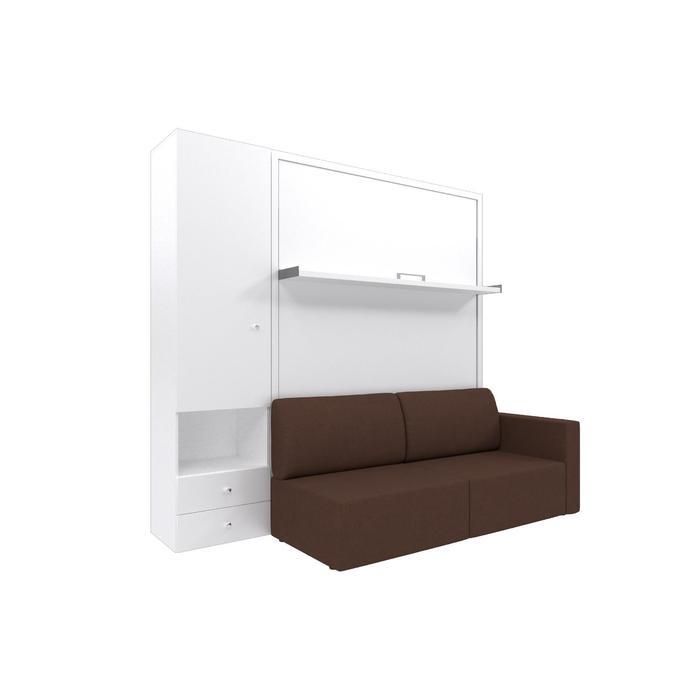 Комплект-трансформер со шкафом  Ника Кровать 1400х2000 + диван коричневый/белый - фото 7672726