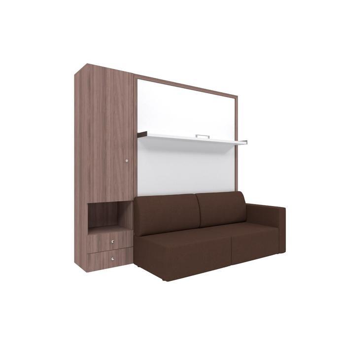 Комплект-трансформер со шкафом  Ника Кровать 1400х2000 + диван коричневый/ясень - фото 7672732