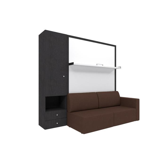 Комплект-трансформер со шкафом  Ника Кровать 1600х2000 + диван коричневый/венге - фото 7672736