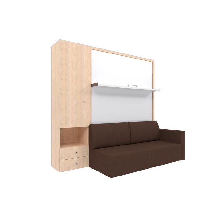 Комплект-трансформер со шкафом  Ника Кровать 1600х2000 + диван коричневый/дуб - фото 7672738