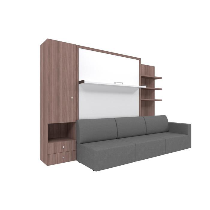 Комплект-трансформер со шкафом и полками  Ника Кровать 1400х2000 + диван серый/ясень - фото 7672751