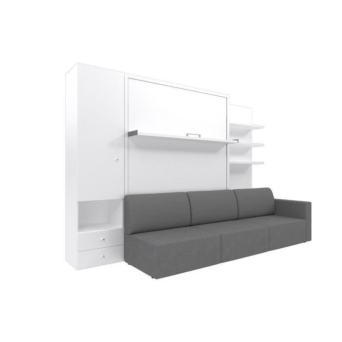 Комплект-трансформер со шкафом и полками  Ника Кровать 1600х2000 + диван серый/белый - фото 7672754
