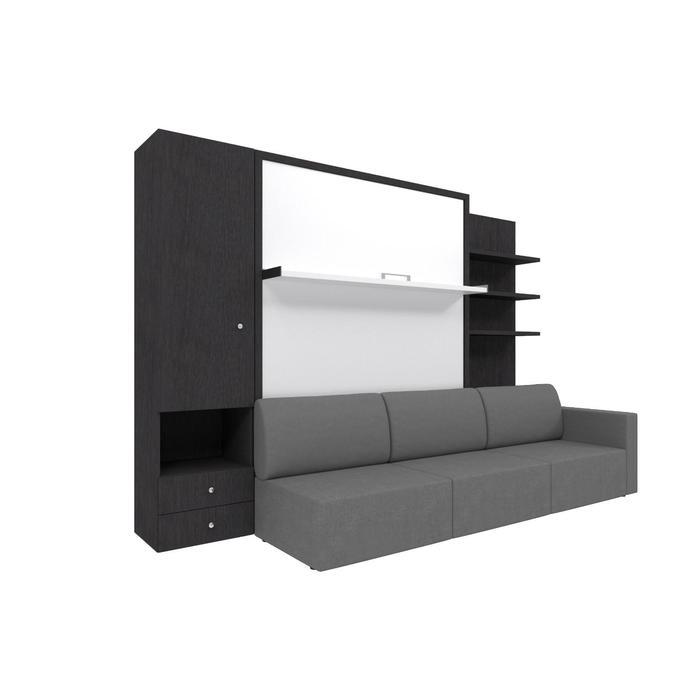 Комплект-трансформер со шкафом и полками  Ника Кровать 1600х2000 + диван серый/венге - фото 7672757