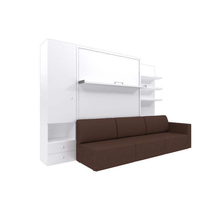 Комплект-трансформер со шкафом и полками  Ника Кровать 1400х2000+диван коричневый/белый - фото 7672763