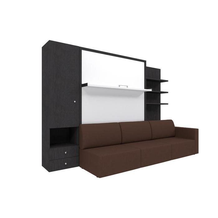 Комплект-трансформер со шкафом и полками  Ника Кровать 1600х2000+диван коричневый/венге - фото 7672778