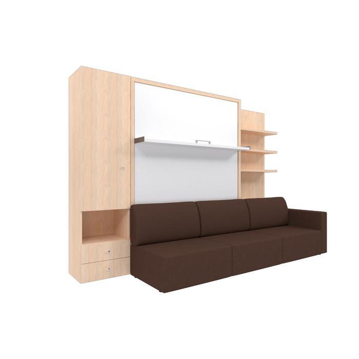 Комплект-трансформер со шкафом и полками  Ника Кровать 1600х2000+диван коричневый/дуб - фото 7672781