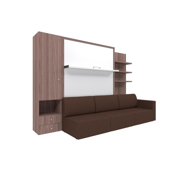 Комплект-трансформер со шкафом и полками  Ника Кровать 1600х2000+диван коричневый/ясень - фото 7672784