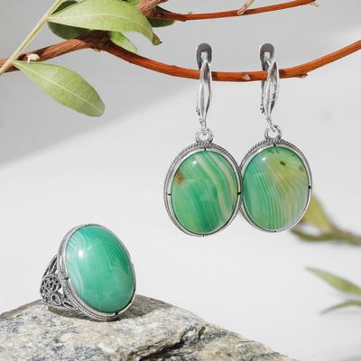 """Set of 2 items: earrings, silver-plated ring, classic """"Agate green"""", 17-17. 5 size"""