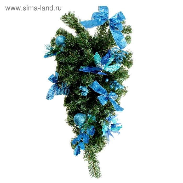 Елка декор настенная синий 60 см