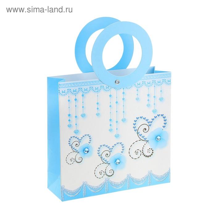 """Пакет ламинированный """"Бабочки"""", цвет, цвет голубой"""