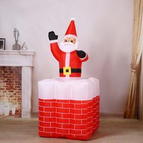 """Надувная фигура """"Дед Мороз"""" вылезает из трубы, 150 см"""