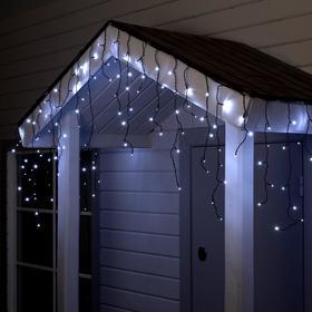 """Гирлянда """"Бахрома"""" 4 х 0.6 м , IP44, тёмная нить, 180 LED, свечение белое, 8 режимов, 220 В"""