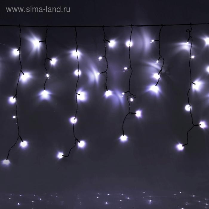 "Гирлянда ""Бахрома"" улич. Ш:2 м, В:0,6 м, нить темная, LED-120-220V, контр. 8 р. БЕЛЫЙ"