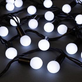 """Гирлянда """"Нить"""" 20 м с насадками """"Шарики 1.5 см"""", IP44, тёмная нить, 200 LED, свечение белое, 8 режимов, 220 В"""