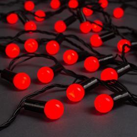 """Гирлянда """"Нить"""" 20 м с насадками """"Шарики 1.5 см"""", IP44, тёмная нить, 200 LED, свечение красное, 8 режимов, 220 В"""