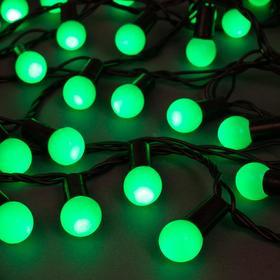 """Гирлянда """"Нить"""" 20 м с насадками """"Шарики 1.5 см"""", IP44, тёмная нить, 200 LED, свечение зелёное, 8 режимов, 220 В"""