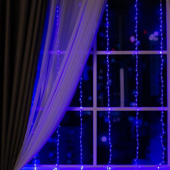 """Гирлянда """"Водопад"""" 2 х 1.5 м , IP20, прозрачная нить, 400 LED, свечение синее, 8 режимов, 220 В - фото 726767775"""