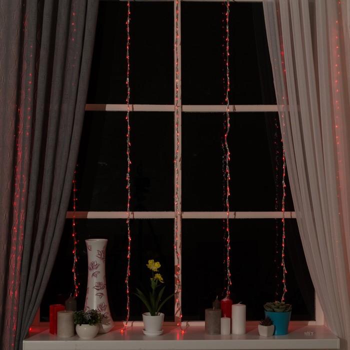 """Гирлянда """"Водопад"""" 2 х 1.5 м , IP20, прозрачная нить, 400 LED, свечение красное, 8 режимов, 220 В"""