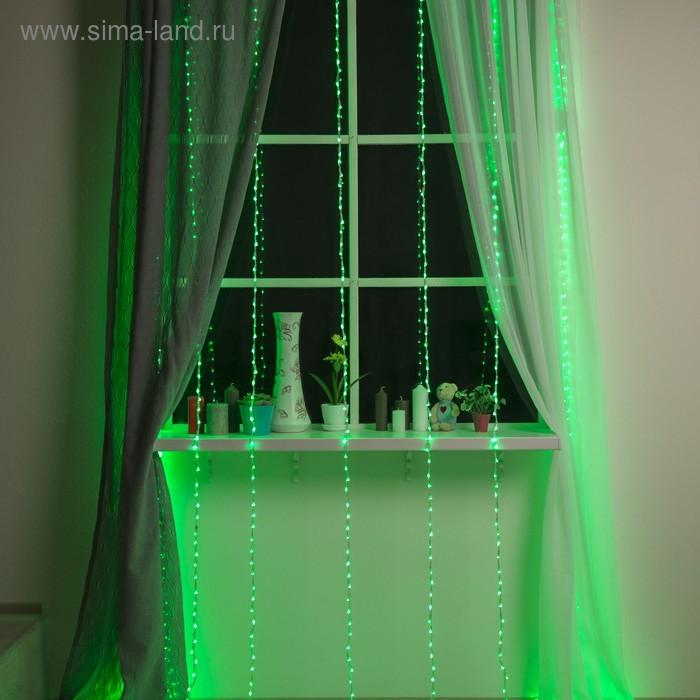 """Гирлянда """"Дождь"""" Ш:2 м, В:3 м, нить силикон, LED-800-220V, контр. 8 р, ЗЕЛЕНЫЙ"""