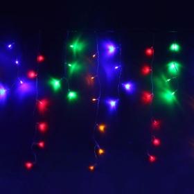 """Гирлянда """"Бахрома"""" Ш:1,2 м, В:0,6 м, нить силикон, LED-60-220V, контр. 8 р. МУЛЬТИ"""
