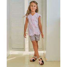 Шорты для девочки MINAKU: cotton collection romantic цвет серый, рост 128