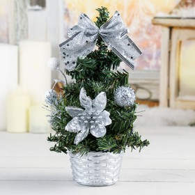 Ёлка декор 20 см снежные шарики серебро