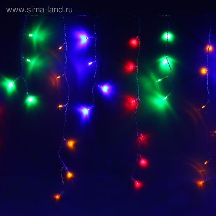 """Гирлянда """"Бахрома"""" Ш:2,4 м, В:0,6 м, нить силикон, LED-120-220V, контр. 8 р. МУЛЬТИ"""