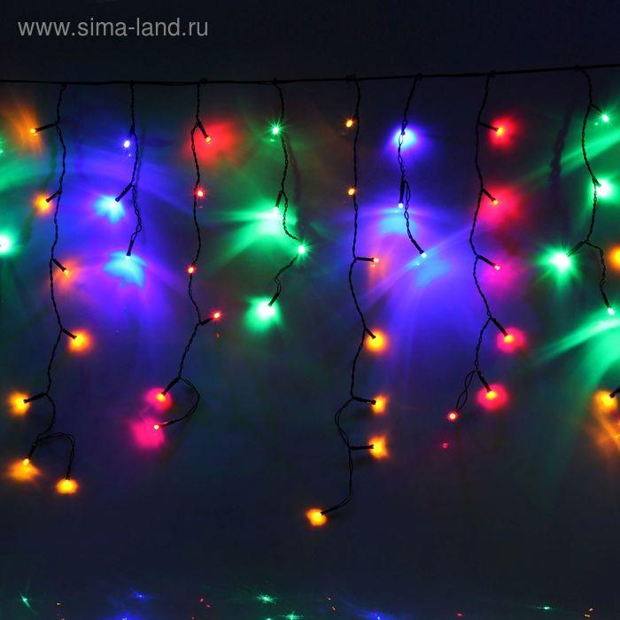 """Гирлянда """"Бахрома"""" Ш:2,4 м, В:0,6 м, нить темная, LED-120-220V, контр. 8 р. МУЛЬТИ"""
