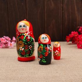 """Матрёшка 3-х кукольная """"Даша"""" с божьей коровкой, 11см, ручная роспись."""