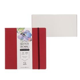 Скетчбук для Акварели, 190 х 190 мм, 20 листов, 200 г/м², сшитый, мелкая фактура, «Малевичъ», Waterfall Nature, бордовая обложка