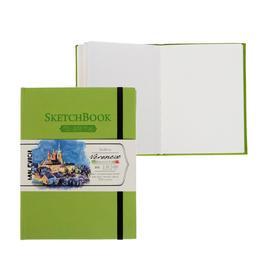 Скетчбук для Акварели, хлопок 25%, 150 х 200 мм, 50 листов, 200 г/м², сшитый, Fin (мелкое зерно), «Малевичъ», Veroneze, салатовая обложка