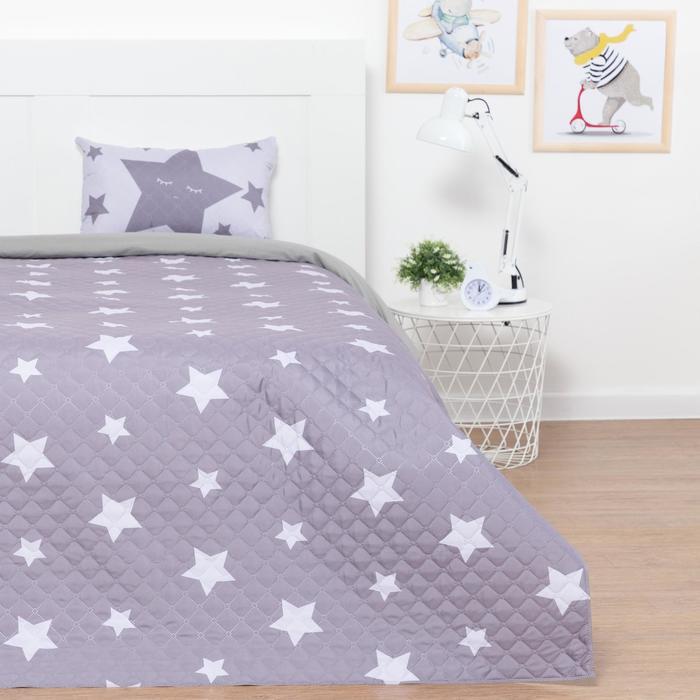"""Набор """"Этель"""" 1,5 сп  Grey stars, покрывало 145х210 см, наволочка 40х60 см,  микрофибра - фото 782328"""