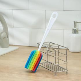 Ёршик для посуды с абразивом Доляна «Радуга», 25×4
