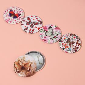 Compact mirror metal/Leatherette circle (1) without uvel d7. 5cm butterfly MIX package QF