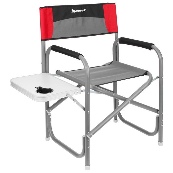 Кресло директорское NISUS с откидным столиком, цвет серый/красный/чёрный - фото 9214777