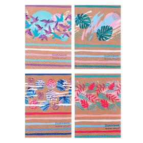 Скетчбук А6 32л на скрепке Art colour, обл мел карт, бел бл, 4вид МИКС 100г/м2 9098 Ош