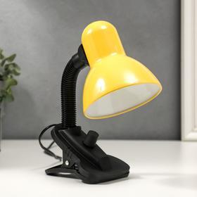 Настольная  лампа на прищепке, 1х40Вт Е27, с диммером, желтая, 27х11,5х12 см