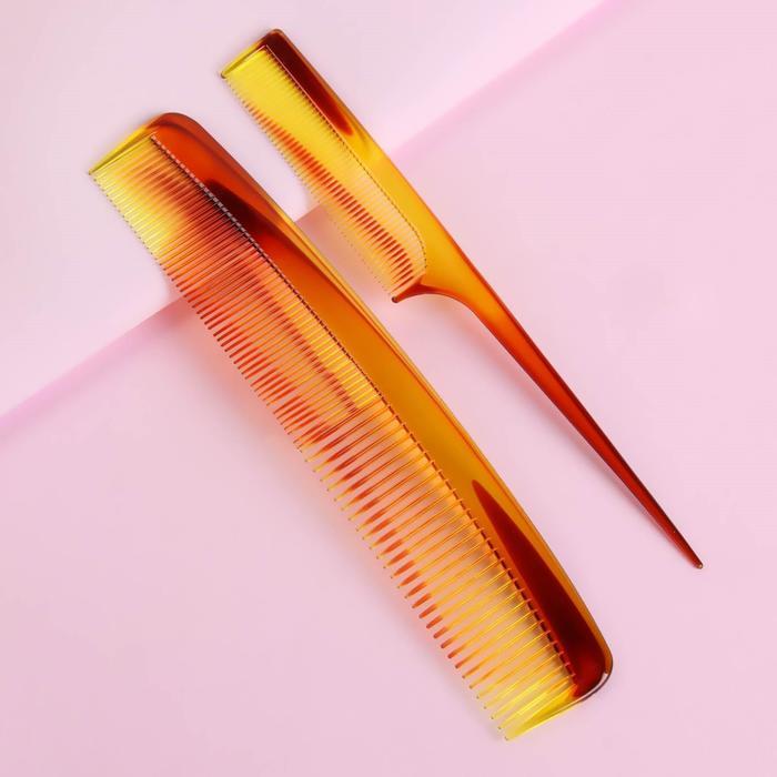 Набор расчёсок, 2 предмета: с ручкой, с хвостиком, цвет янтарный