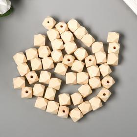 Набор деревянных многогранных бусин 12 мм, набор 50 шт.