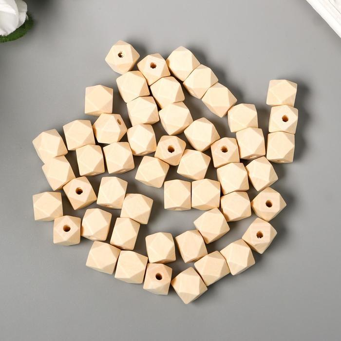 Набор деревянных многогранных бусин 12 мм, набор 50 шт. - фото 7683322