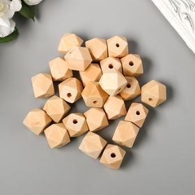 Набор деревянных многогранных бусин 18 мм, набор 35 шт.