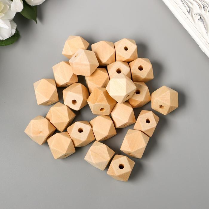 Набор деревянных многогранных бусин 18 мм, набор 35 шт. - фото 7683325